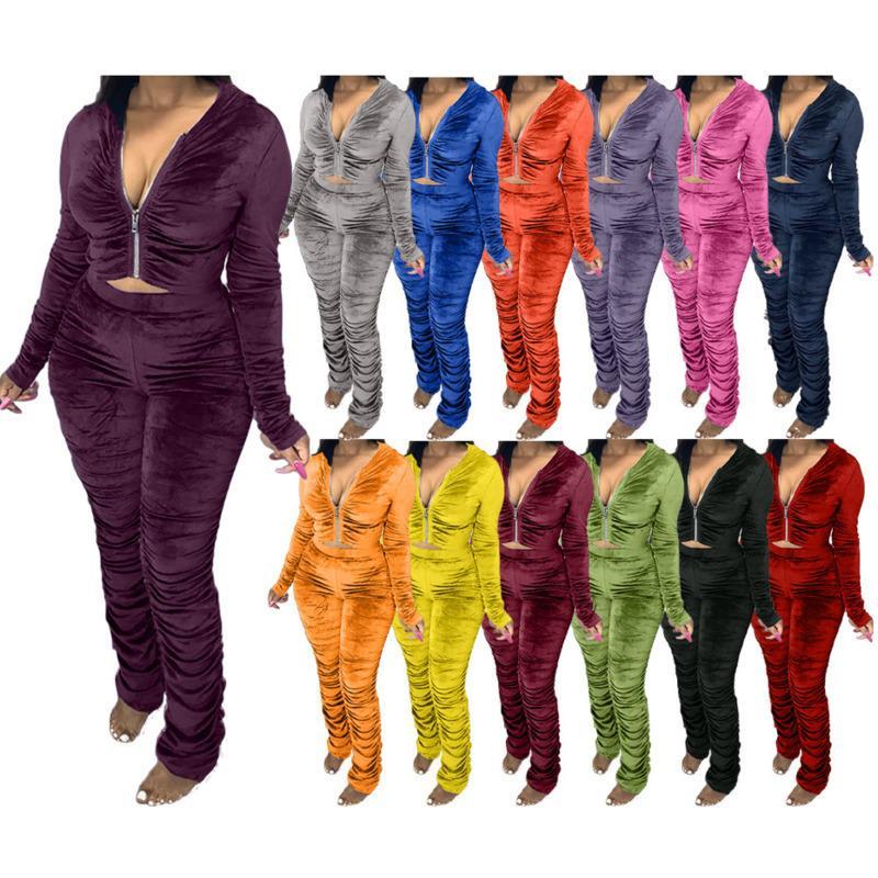 Frauen S Kleidung 2 Stück Set Winter Mode Samt Plissee Reißverschluss Langarm Jacke Hosen Outfits Damen Solid Plus Size Casual Anzug Neu