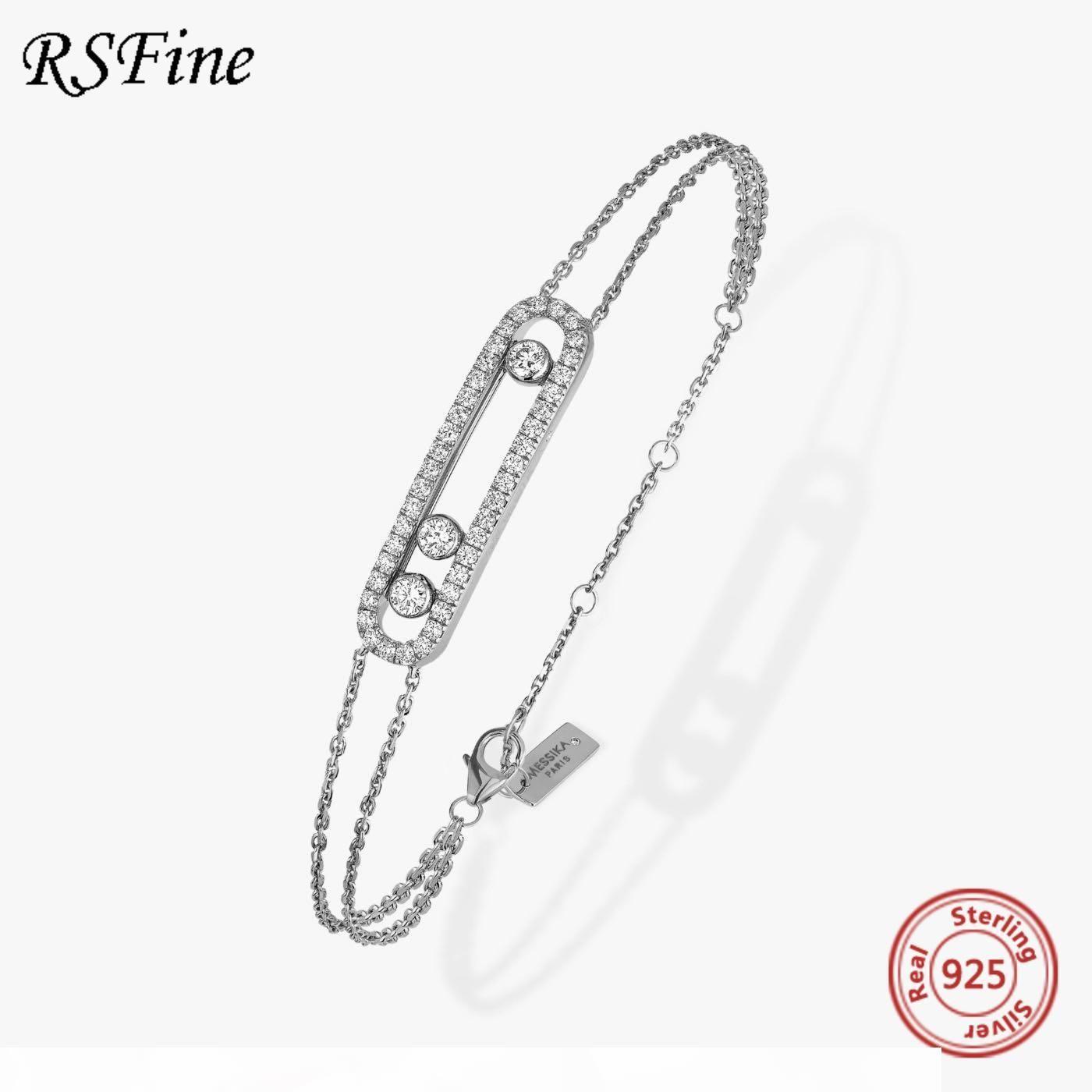 Frankreich Real 925 Sterling Silber Messima Armband mit drei bewegten Stein Klar CZ Für Mutter Frauen Feine berühmte Marke Schmuck 1028