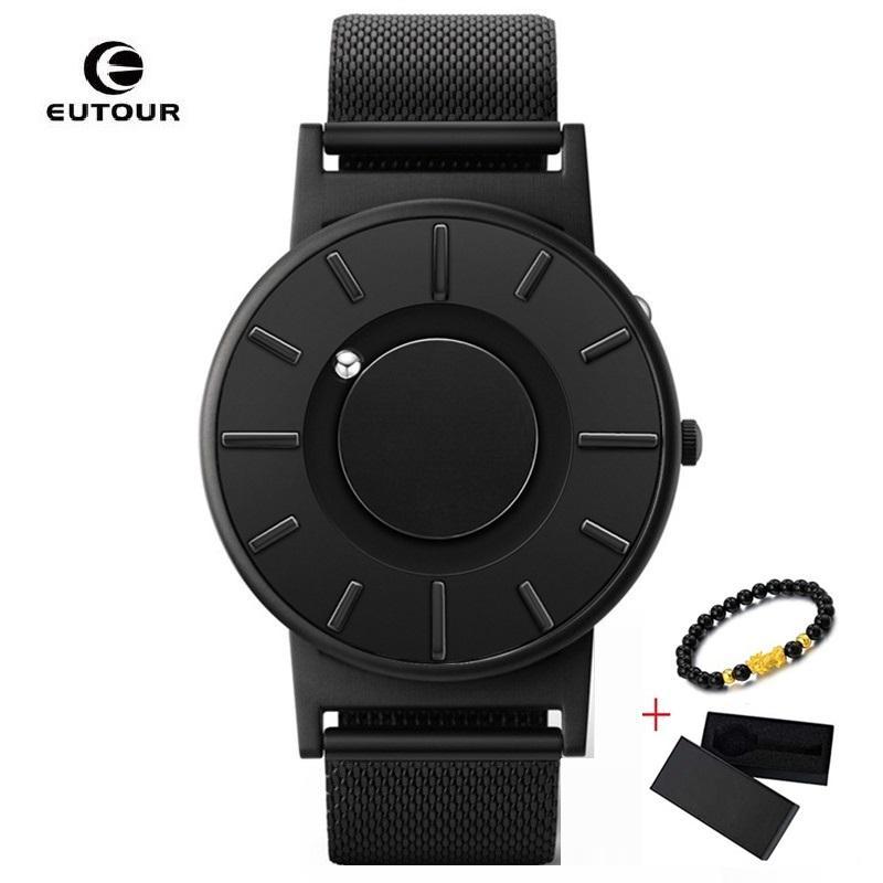Eutour novo magnetic mulheres pulseira relógios à prova d 'água senhoras quartzo relógio de aço inoxidável mulher amantes assistir Reloj mujer 2019 J1205