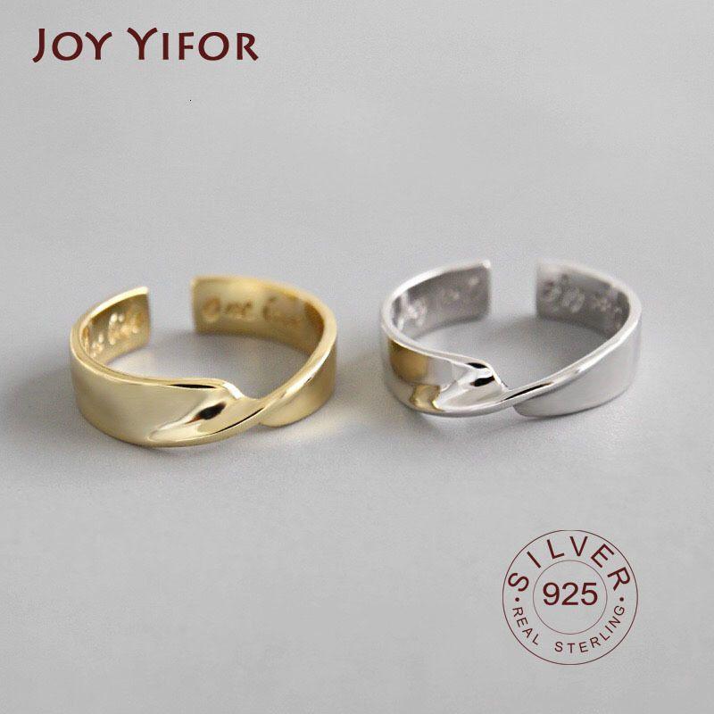 925 Sterling Silver Open Charm Bagues Bague Bague en ondes de tempérament simples Motif de bijoux fins Noël présent
