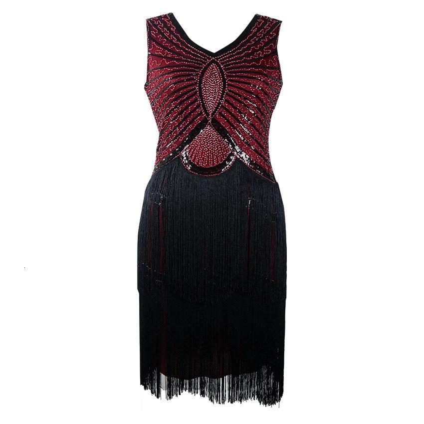 Preto v-pescoço longo mangas borla 1920 Ótimo gabfsty dança vestido de dança flapper lantejoulas vestidos de franja tamanho