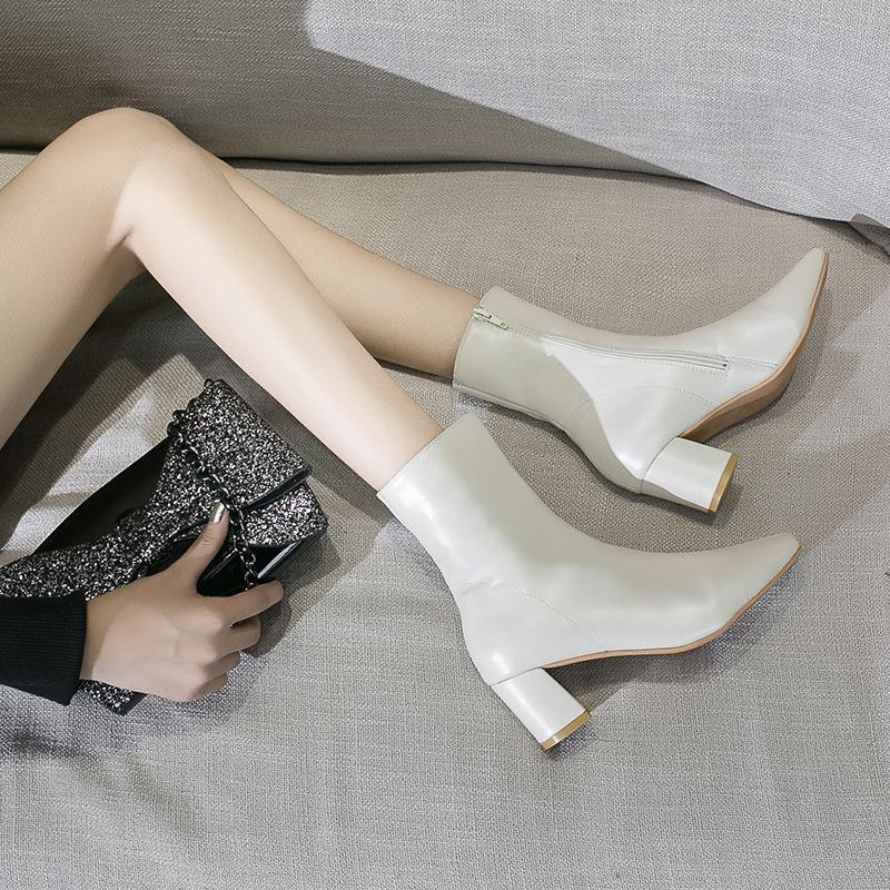 Classics Fashion Novelty Femmes Automne Cheville Bottes Solid Toile Rond Med Vintage Bottes courtes Zip Casual Hiver Shoes Plus Taille