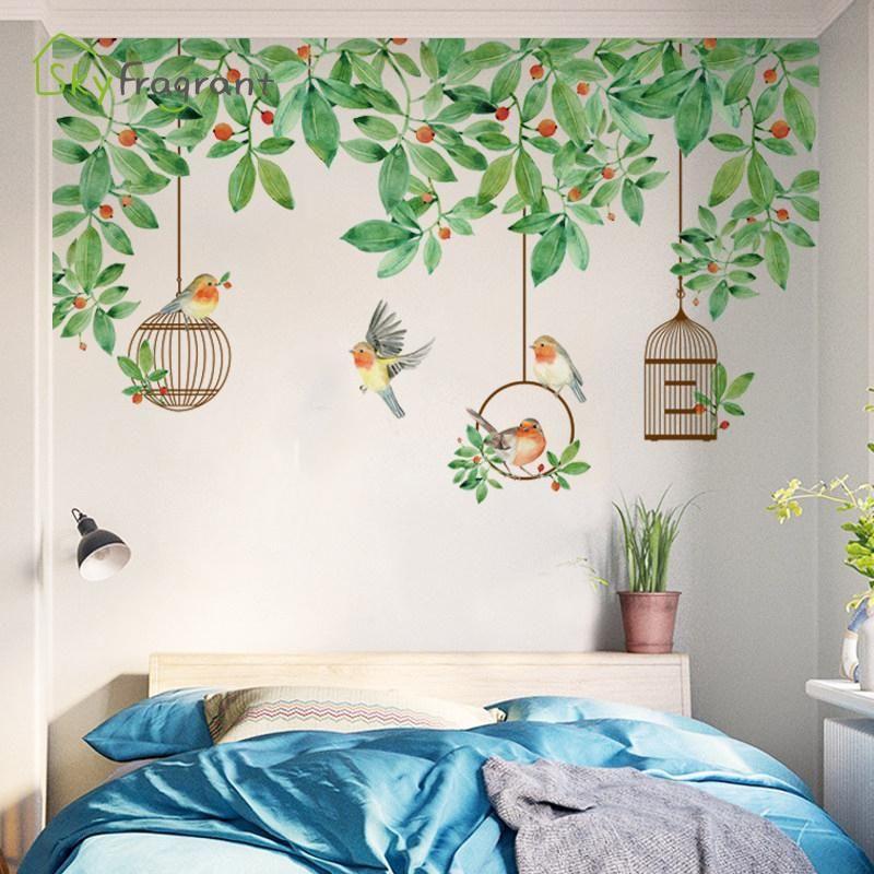 Küçük Taze Yeşil Bitki Yatak Odası Başucu Duvar Sticker Birdcage Kendinden Yapışkanlı Oturma Odası Kanepe TV Arka Plan Duvar Dekor Ev Dekorasyonu