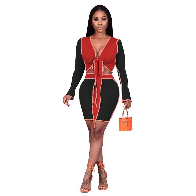 Camicie da lavoro casual da donna con scollo a V Collo a maniche lunghe in pizzo Top Mini gonna 2 pezzi Set 2 Color (S-XXL)