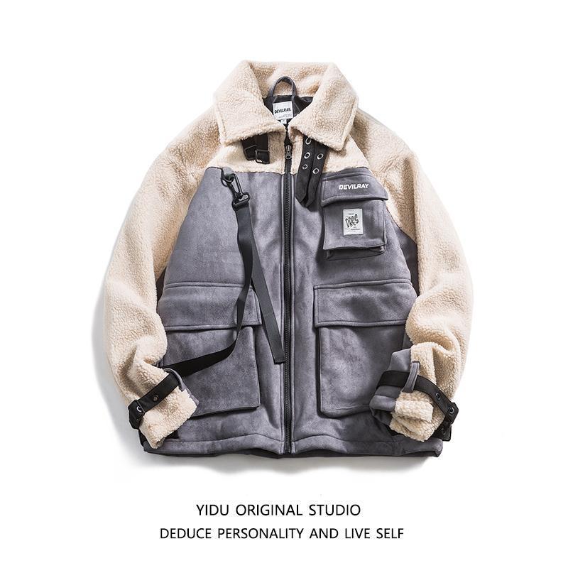 Мужская парень Parkas Lambswool лоскутная куртка Мужчины контрастные ретро свободные повседневные негабаритные весов Homme Hiver зимнее пальто DE50MMF