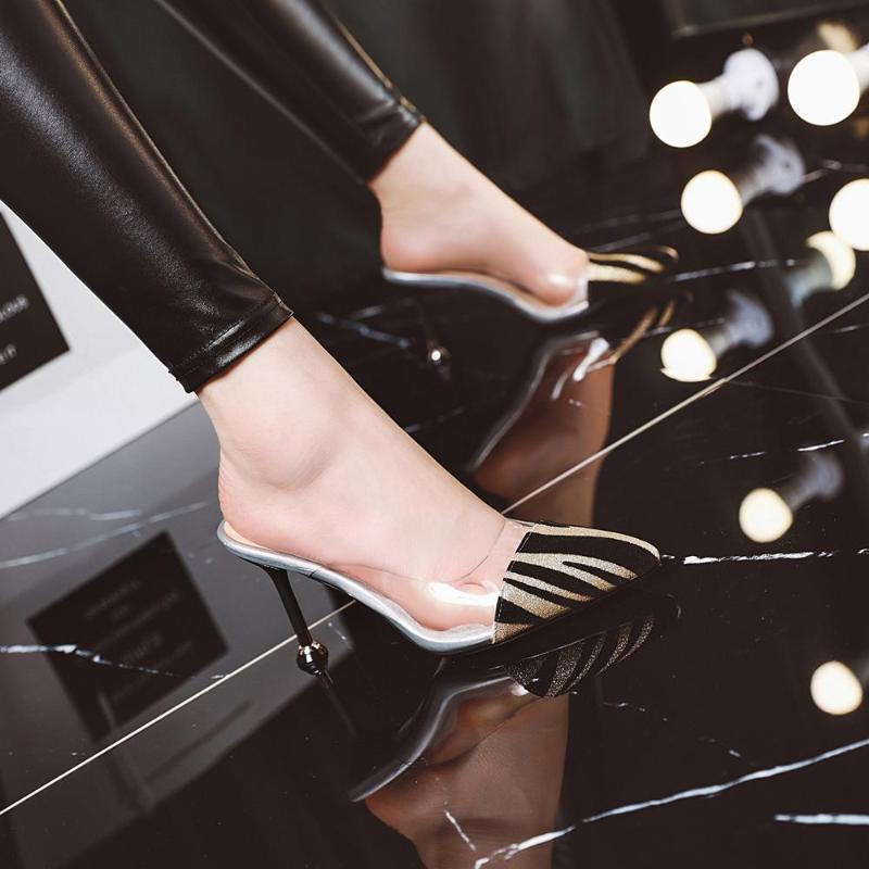 8.5cm Summer's new stripe glass slipper slingshot stiletto mueller