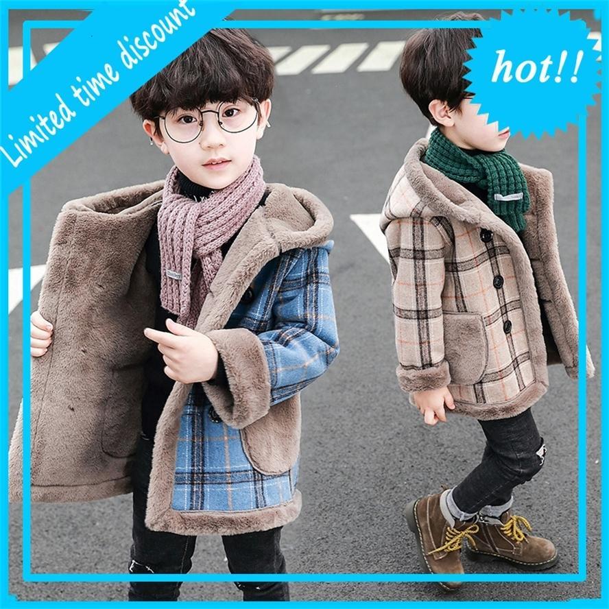 Вуллен для мальчиков оленей зимний мальчик горячая тарелка длинные куртки с капюшоном флис жирное белье детей пальто