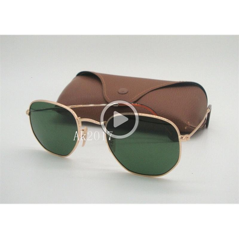 Güneş Gözlüğü Yüksek Metal Erkek Kişilik Cam Kahverengi Düzensiz Lensler Çerçeve Gözlük Altın Güneş Yeşil Altıgen 51mm Gelin QLity 1 Pair C INTV