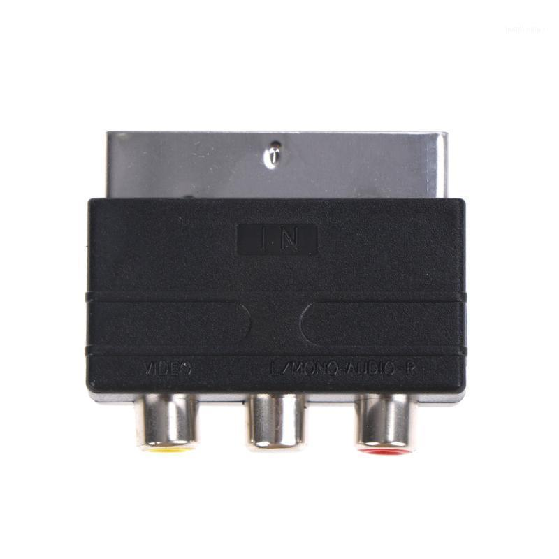 Computer Cables & Connectors TV Television Projector Scart To 3 RCA S-Video Adapter Composite Phono Adaptor Converter AV Audio For Video DVD