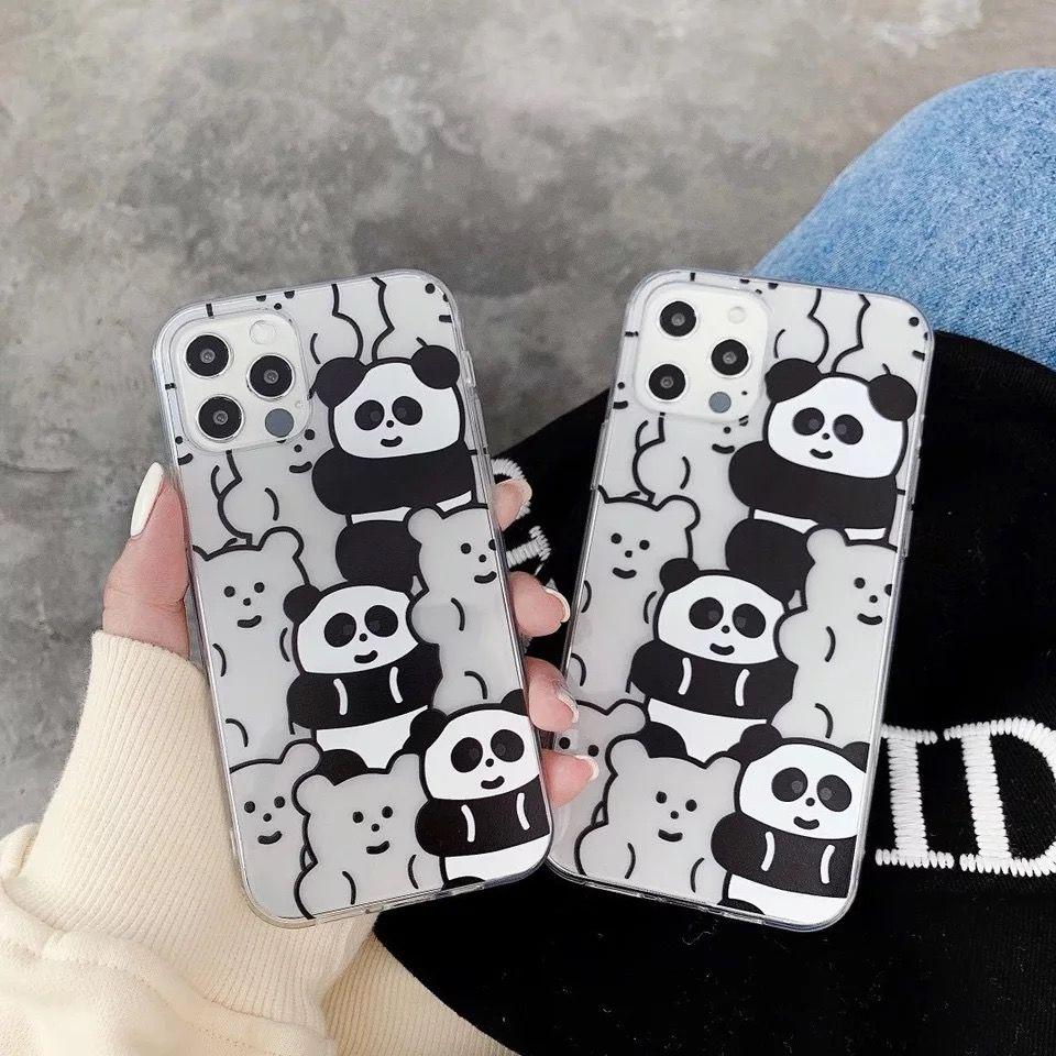 Cartoon Soft Shell Panda Transparent Téléphone mobile Chaud Vendre Mignon Illustration Style Personnalité Creative Anti-Fall pour iPhone 12 12Pro