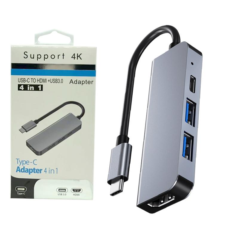 USB C Hub Multiport Adapter 4-in-1 With 4K HDMI 2 USB 3.0 Ports 87W Power Delivery compatible for Laptops Macbook Pro Air