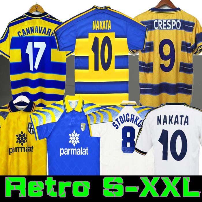 1998 1999 2000 Parma Retro Soccer Jersey 홈 95 97 98 99 00 Baggio Crespo Cannavaro 축구 셔츠 Stoickkov Thuram Futbol Camisa 01 02 03