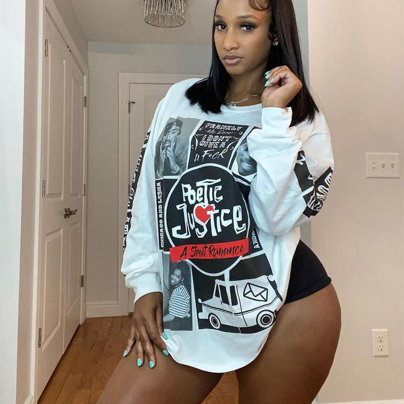 Hip Hop Stylish Print Fashion Loose Overside T Shirt Womens Long Sleeve Tops 2020 Autumn New Design O-Neck Casual Sport Clothes F1204