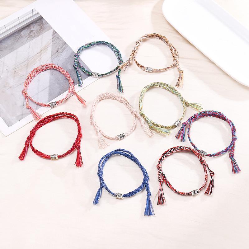 Buddista tibetano a mano Nodi fortunato Rope Bracciale nodo cinese fortunato perline corda rossa Formato del braccialetto regolabile