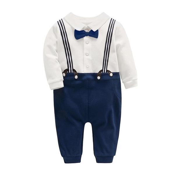 0-3t bebê meninos macacões outono gentleman macacão bebe girl jumpsuits criança roupas bebê crianças roupas com arco c0126