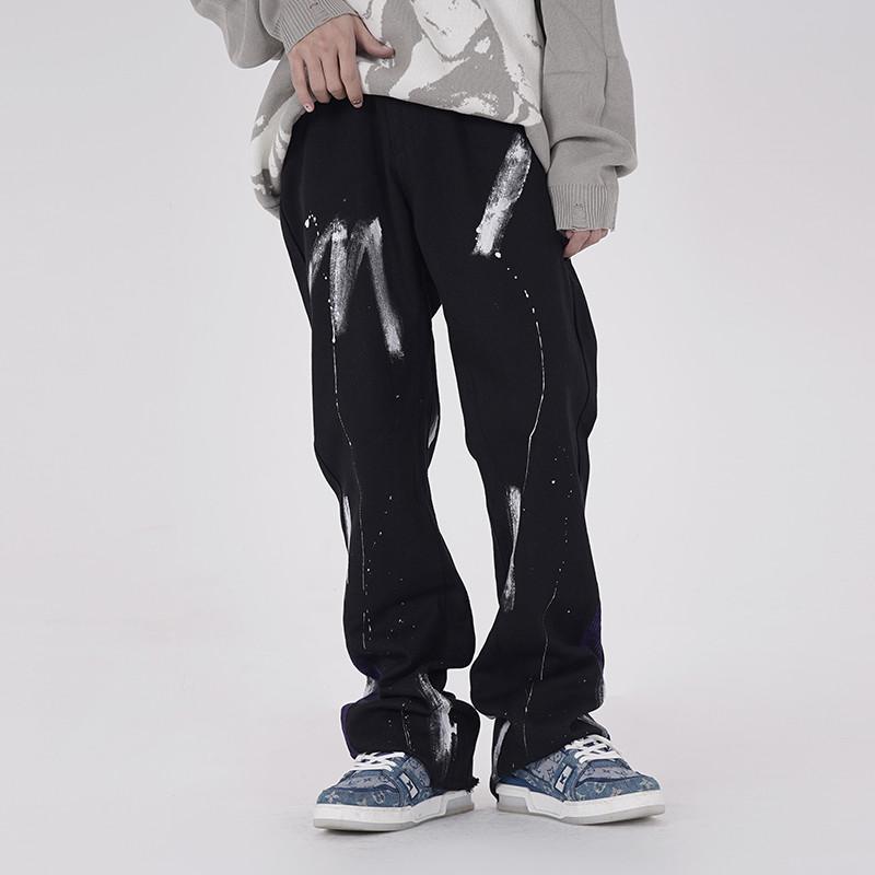 High Street pintado reto lavado jeans calças homens e mulheres tamanho grande perna larga bolsos soltos calças denim casuais