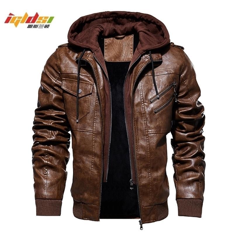 Giacche da uomo in pile caldo inverno e cappotti autunno uomo cappello rimovibile in pelle giacche in pelle outwear Giacca in pelle moto M-4XL 201126