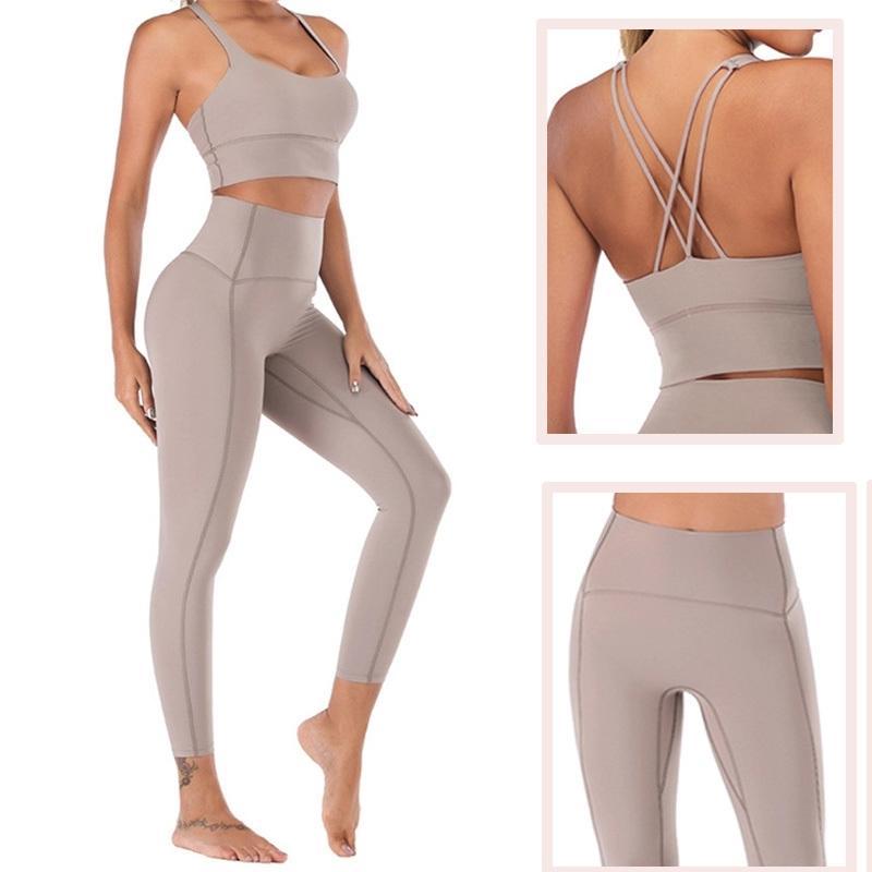 Gymfrever Naked-Senteur Yoga Ensemble de Yoga Leggings Set Femmes Fitness Yoga Vêtements Haute Taille Gym Gym Entraînement Ensemble Gym Sport Vêtements Y200904