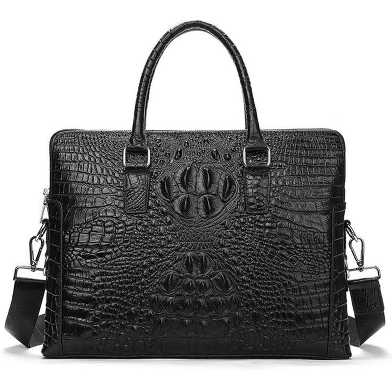 Ünlü tasarım iş evrak çantası timsah tahıl inek derisi deri erkek çanta yatay evrak çantası omuz çantası erkek tote çanta