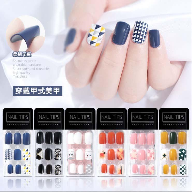 30pcs/Box Detachable False Nail Artificial Tips Wearable Round Head Fake Nails Set Full Cover Extension Tips 12 sizes 22 Colors