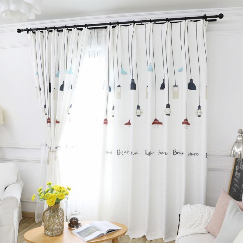 Cor preto e branco luzes nórdic vento cortinas sala sala de sala de fixação frescas cortina de blackout
