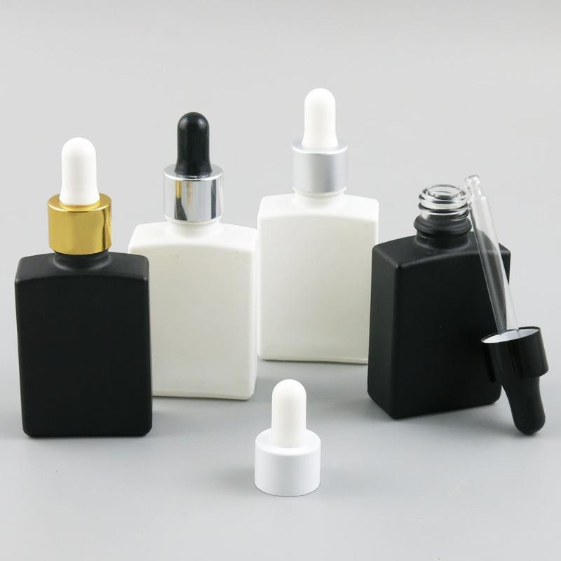10x30 ml Seyahat Siyah Beyaz Cam Perfum Şişe Kare Şişeler Damlalıklı Uçucu Yağ Parfüm Atomizer Konteyner