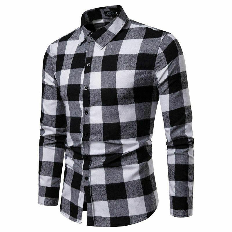 Мужские теплые клетчатые рубашки Фланалель Формальная Рубашка Формальная Рубашка Наряд