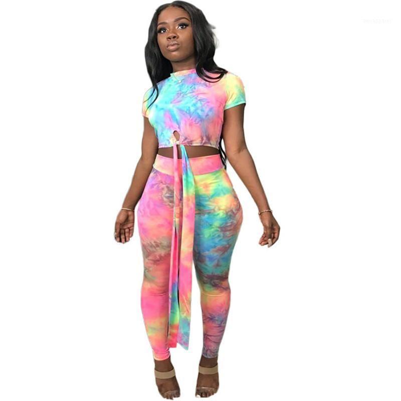 Femmes Casual Two Piece Set Top and pantalon Tracksuit Plus Taille Taille Cadre Type Print Top et pantalon Set Summer 2 pièces Tenues 1