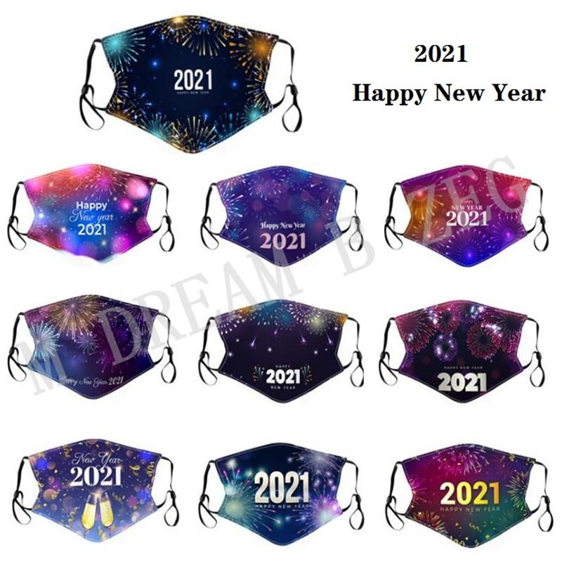 Happy New Year 2021 Face Mask Printed Cotton Cloth Designer Mask Adult Dustproof Mouth Masks Washable Facemask Christmas Party Masks