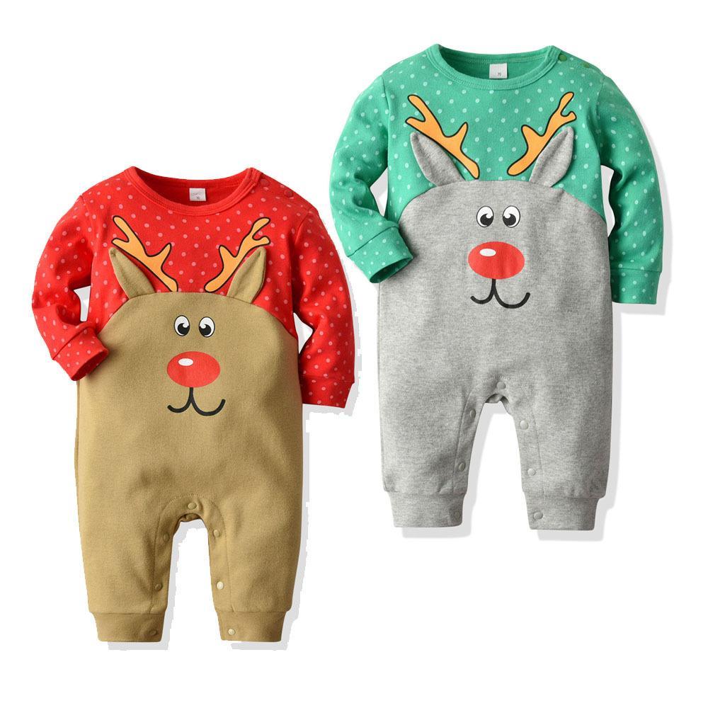 Çocuk Sonbahar ve Kış Noel Tarzı Uzun Kollu Romper Bebek Tek Parça Creeper