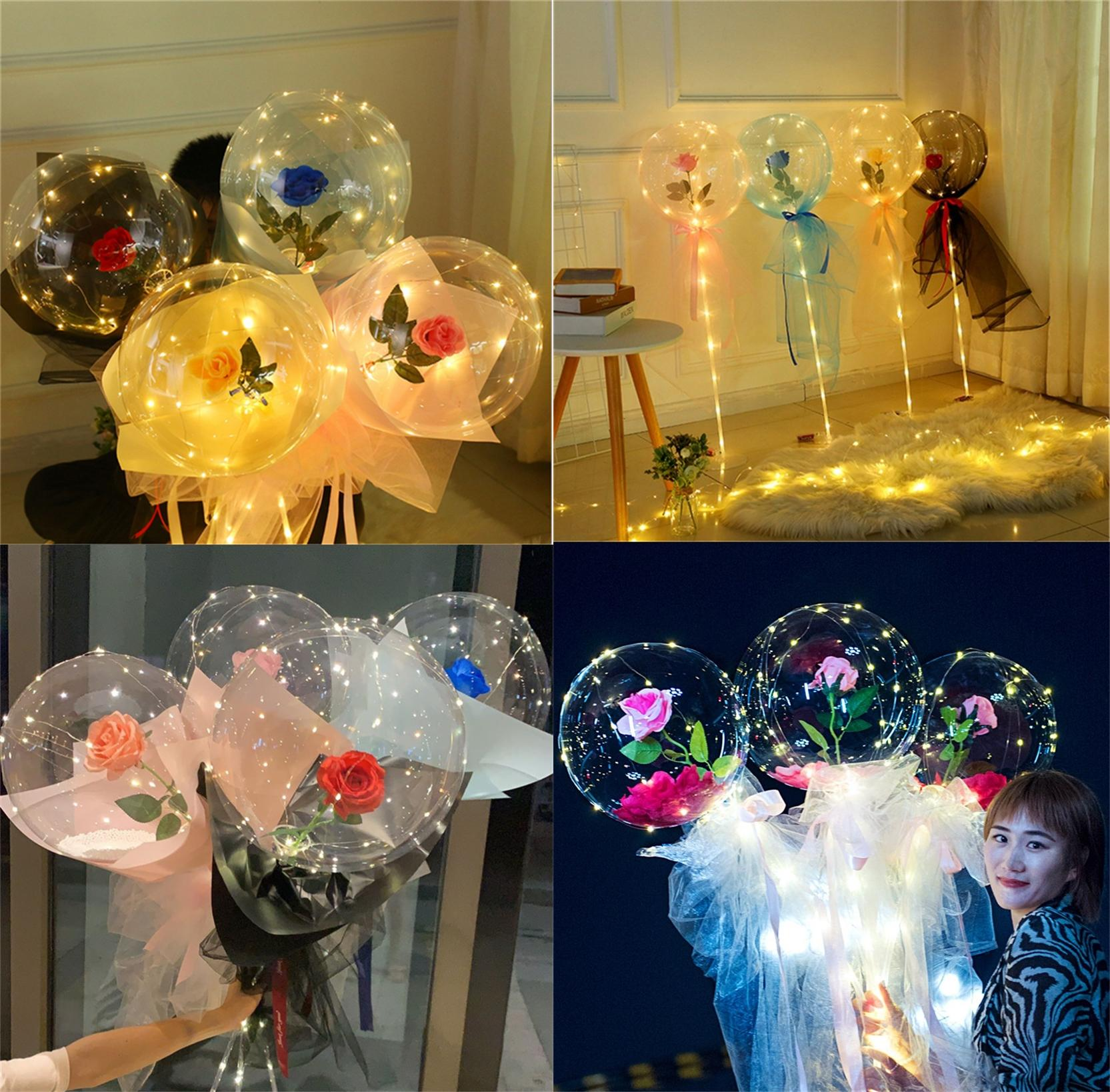 LED leuchtender Ballon Rose Bouquet Transparent Bobo Ball Rose Valentinstag Geschenk Geburtstags-Party Hochzeitsdekoration Ballons E121801