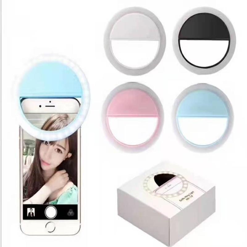 Round selfie LED Bague Flash Light Portable téléphone portable Selfie Lampe Lumineuse pince pour iPhone 12 xs Mas 8 Plus Samausng Xiaomi