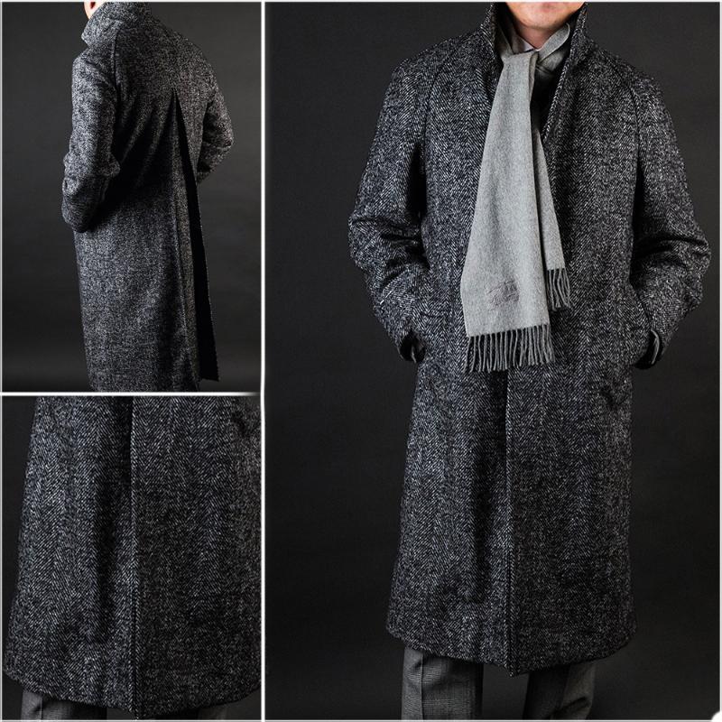 DarkGray Inglaterra estilo lana abrigo 2021 otoño invierno hombres medio longitud espesa plus chaqueta guapo buiness cacual abrigo