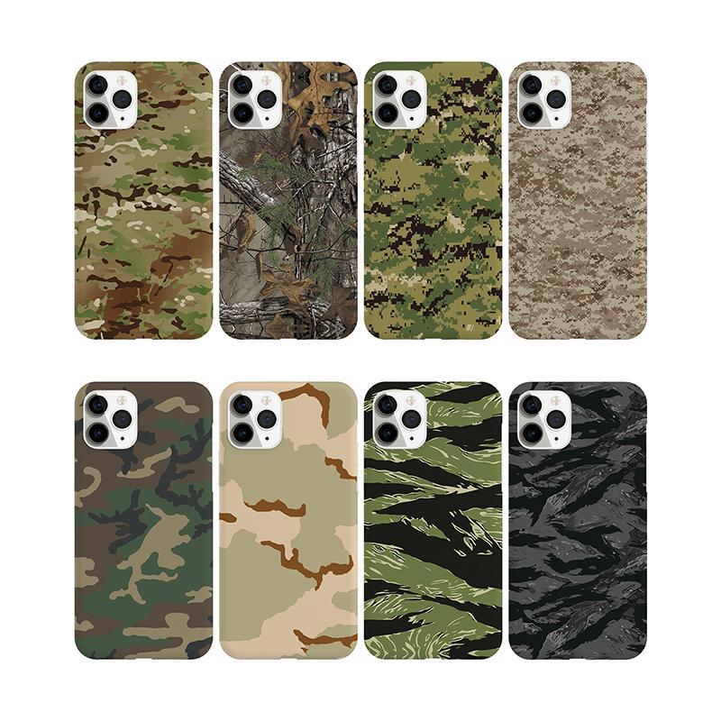 육군 녹색 위장 케이스 아이폰 11 12pro se 2020 x xr xs 최대 6 6S 7 8 플러스 소프트 TPU 실리콘 전화 케이스 백 커버