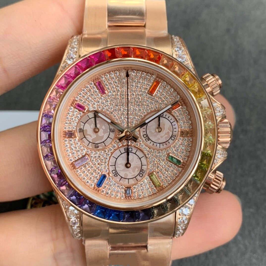 Haut Mode Classic Hommes 40mm Rainbow Full Diamant 18K Rose Gold Automatique Mécanique Mode Imperméable Men's Watch