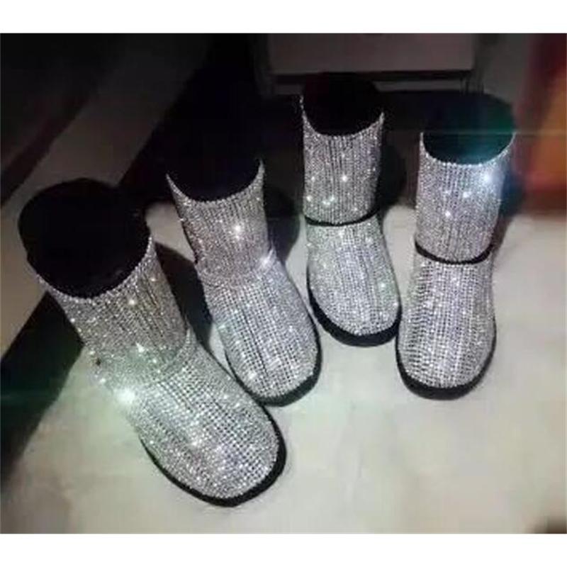 Bling Bootboots TODOS Los Strass Woman Flat Invierno Pink Glitter Atrás Botas de nieve Crystal 71xy