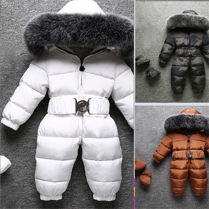Новый Fox Mur Hollars вниз Куртка для мальчиков и девочек Новый ребенок толстый зимний Snowsuit 201127