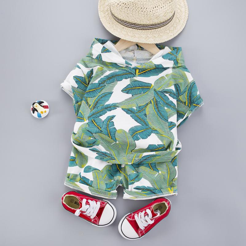 Hawaii Baby Clothes 1-4 Years Boys Hooded T-Shirt Shorts 2PCS Children Holiday Costume Cotton Infant Kids Clothes Outfits LJ200814