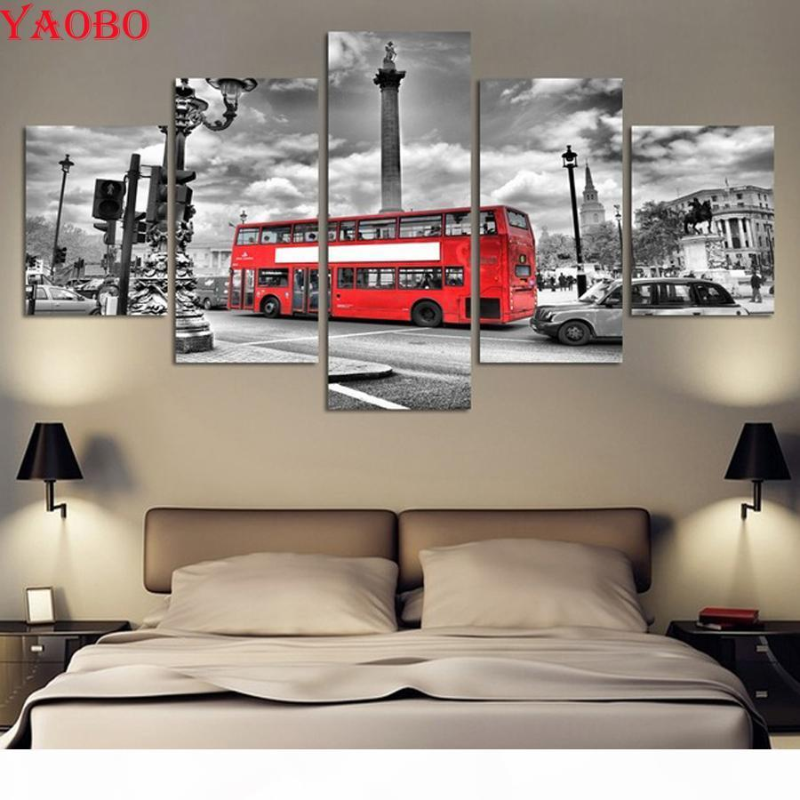 volle quadratische runde diamant stickerei 5 panel stadtlandschaft rote bus diy 5d diamant malerei kreuzstich mosaikbild wohnkultur