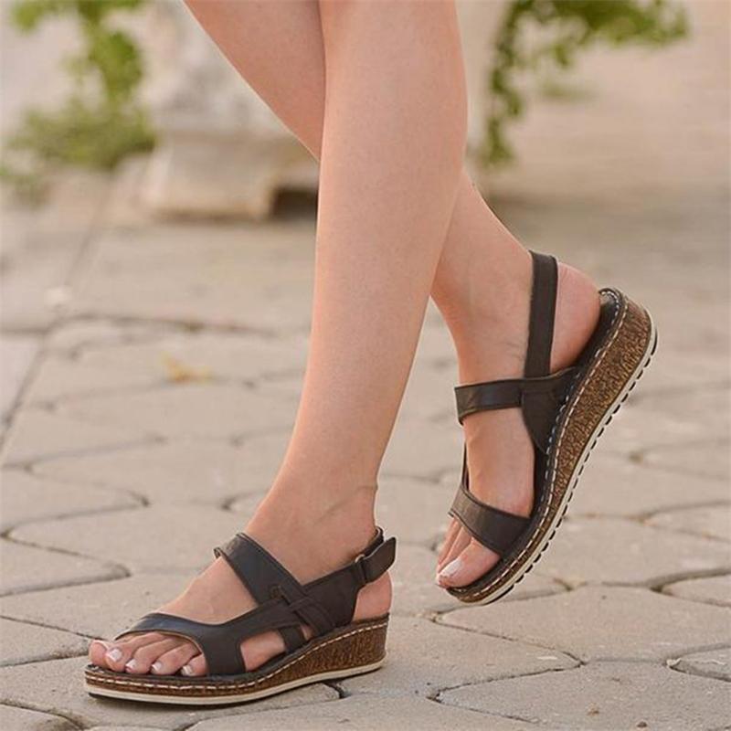 Villedian Sandales d'été Femmes Boucle Boucle Boucle Sandales Sandales Femmes Solide PU Cuir Round Toe Chaussures Wedge # G20 Y200405
