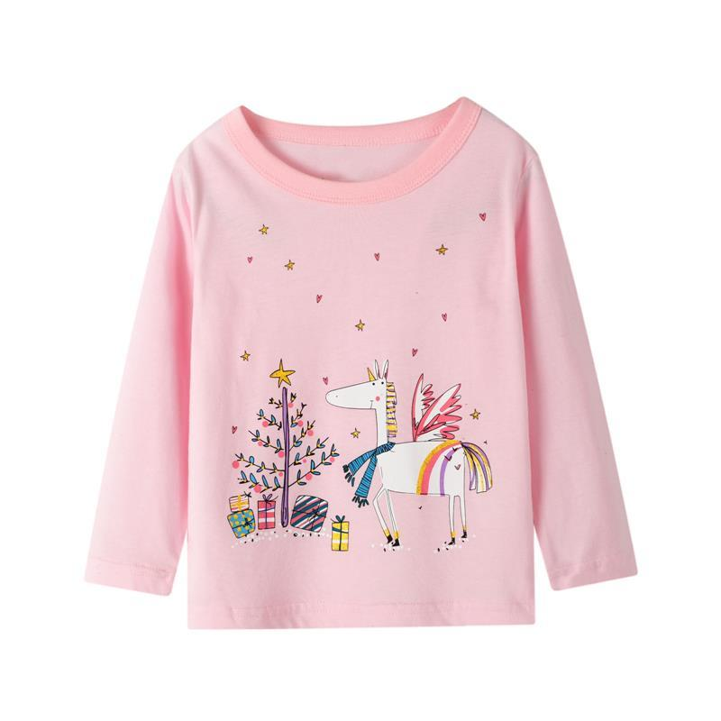 Licorne Imprimer Enfants Casual Tops à manches longues Mignonne Dessin animé Col Couche T-shirt Baby Girls Printemps Automne Home Wear Kid Kid Kid 17bm G2