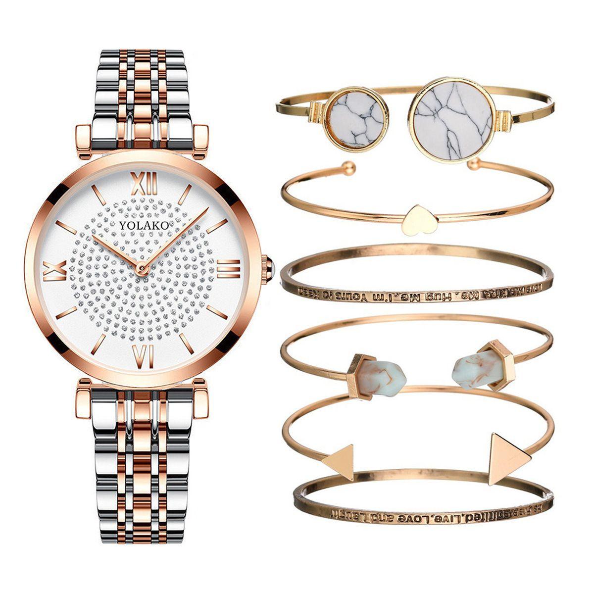 Luxo pulseira relógio terno 7 pcs / conjunto de aço inoxidável relógio dourado mulher relógio relógio relógio de quartzo marca relógios de pulso para as mulheres J1205