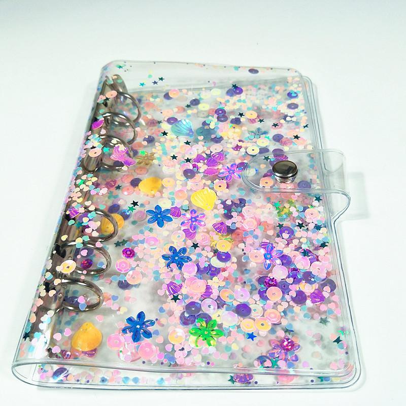 A6 Notebook-Abdeckung Transparent PVC Glitter Pailletten Notebook-Shell-Büroschule 6 Ringe Binder Spiralplaner Agenda Organizer Cover