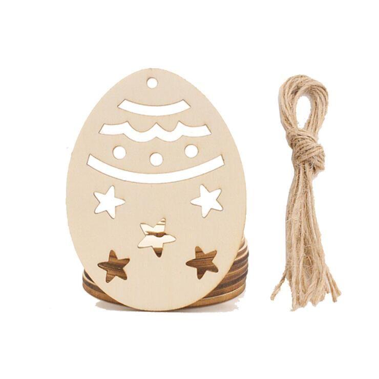 Legno Pasqua uova ciondolo fai da te artigianale decorazione di Pasqua creativo artware in legno festival festa forniture ornamento domestico 6 stili PPE3886