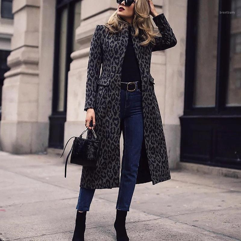 2020 Mujeres de invierno Casual Double Breasted Leopardo Abrigo Outwear Fashes Coat Office Coat Chic Pocket Design Long Trench1