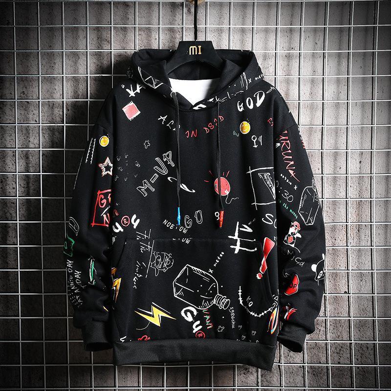 Felpe con cappuccio da uomo Primavera Autunno Autunno Uomo Anime Graffiti Felpa Maschile Hip Hop Harajuku Streetwear giapponese Felpa con cappuccio nera