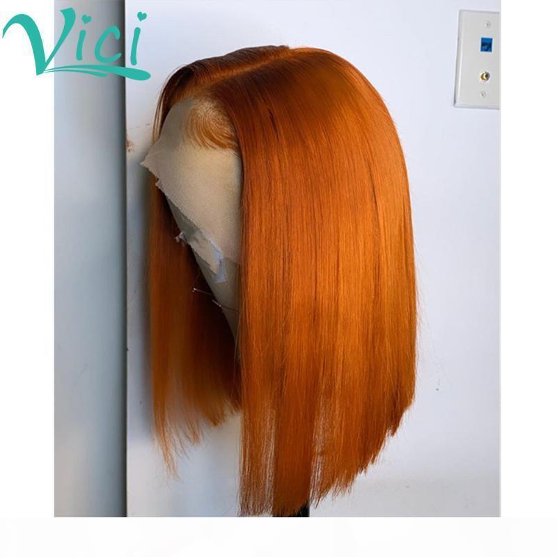 Цветной оранжевый парик для женщин Безлистые короткие волосы для волос на волосы предварительно сорванные отбеленные узлы 13x6 имбирь Pixie нарезать парик человеческие волосы