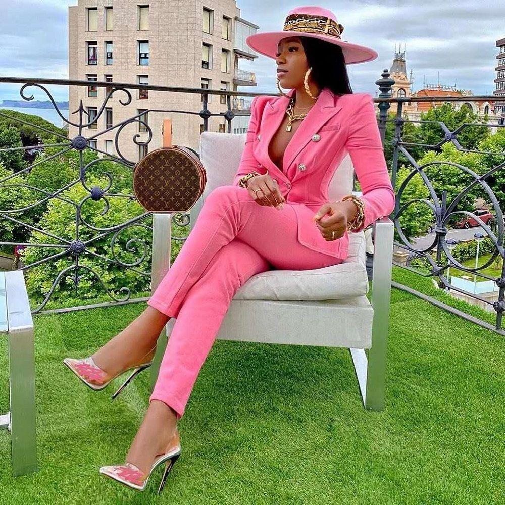 2020 Новая осень мода розовые длинные условные наборы женщин нарядов сексуальный двубортный пиджак с подходящими брюками двух частей
