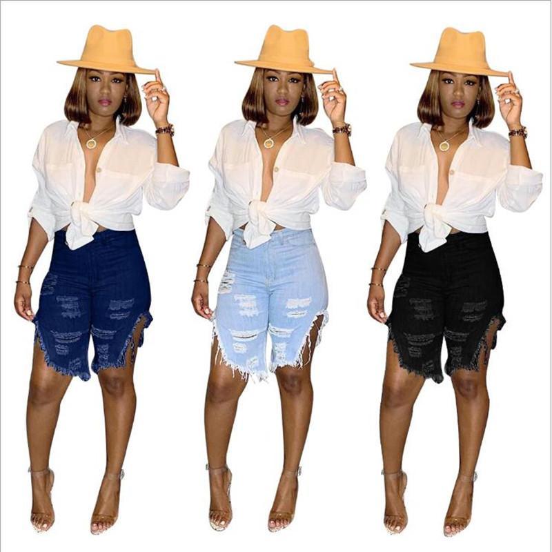 2020 mulheres shorts de verão calça jeans hole cintura alta zíper casual mosca joelho jeans high street desgaste denim shorts moda calças gl8675 c1123