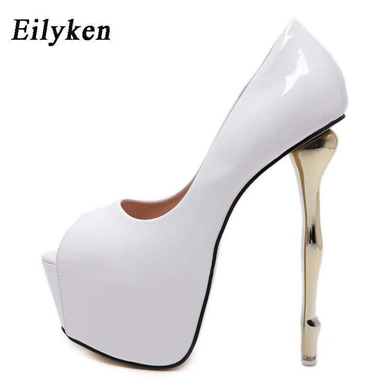 Eillken Sexy белые красные черные платформы насосы женщин ультра высокие шпильки каблуки туфли Peep toe вечеринка свадьба невесты LJ201112